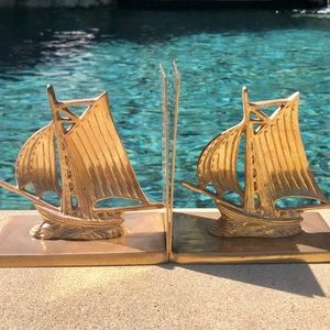 Vintage SOLID BRASS sailboat bookends